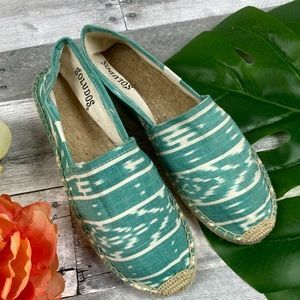 Saludos teal tribal print shoes slip on 39